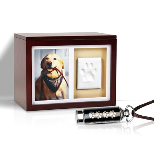 Wooden box with a picture of a pet along with pet's tag